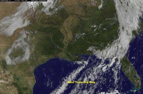 Satellite sees giant 'fog ring' in U.S. Southwest