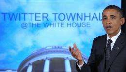 """US President Barack Obama speaks during a """"Twitter Town Hall"""" in 2011"""