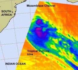 NASA sees Tropical Cyclone Irina still looping at sea