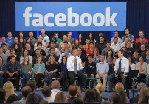 US President Barack Obama participates in a town hall meeting at Facebook headquarters in 2011