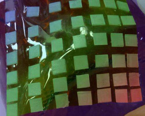 Checkerboard surface put to flexible electronics test