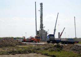 A drilling rig exploring for shale gas in the eastern Polish village of Grzebowilk