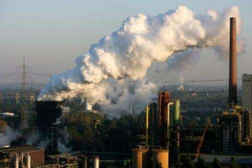 A factory in Germany emits smoke