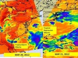 Alberto now a tropical depression, seen by NASA