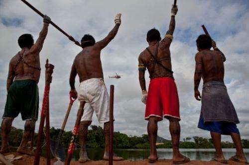 Amazonic natives protest the Belo Monte Dam project