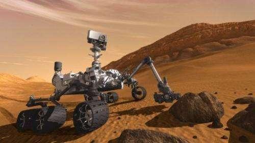 An artist concept shows NASA's Mars Science Laboratory Curiosity rover