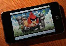 "An image of the popular video game ""Angry Birds"" is displayed"