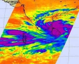 ASA infrared eye sees tropical cyclone Nilam soak Sri Lanka