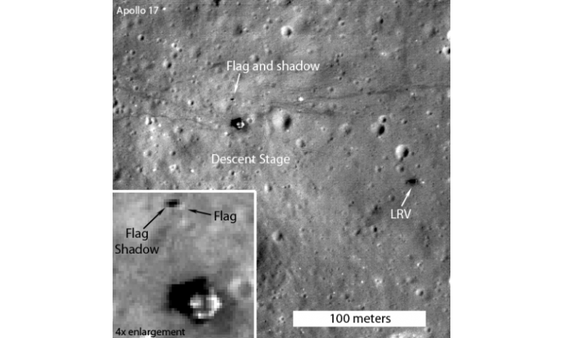 Flags still standing at several Apollo landing sites on the moon