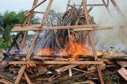 Gabonese President Ali Bongo on Wednesday set fire to five tonnes of ivory worth millions of euros