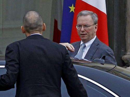 Google's executive chairman Eric Schmidt arrives at the Elysee Palace for a meeting with French President