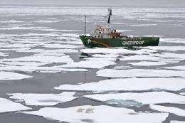Greenpeace's My Arctic Sunrise ship on an Arctic Ocean expedition