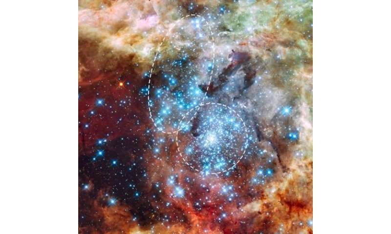 Hubble watches star clusters on a collision course