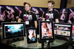 iPads and a Samsung Galaxy with Pink Visual porn apps
