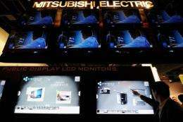 Mitsubishi Electronics touch screen LCD monitors are displayed at the Consumer Electronics Show in Las Vegas