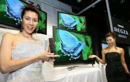 Models of Japan's Toshiba Corp. pose by LCD displays in 2006