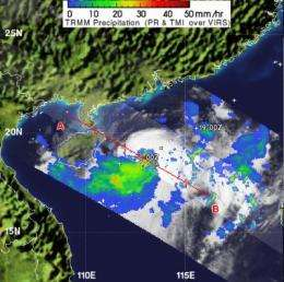 NASA reveals heaviest rainfall in Tropical Storm Talim's southwestern side