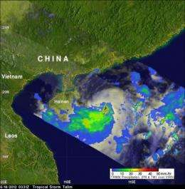 NASA sees some heavy rainfall in tropical storm talim