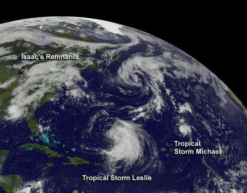 Newborn Tropical Storm Michael struggling like Leslie and Isaac