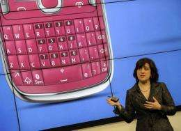 Nokia executive Mary McDowell presents the new Lumia mobile phone in Barcelona today