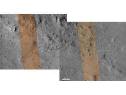 Orbiter spies where rover's cruise stage hit Mars