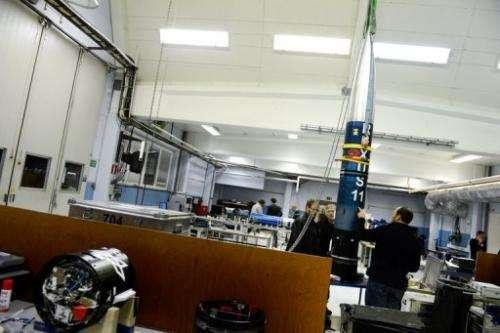 "Rocket technicians assemble the student rocket ""Rexus 11"" at the Esrange Space Centre near Kiruna on November 15, 2012"