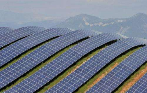 Solar panels are seen in Les Mees, southern France in 2011