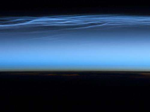 Station crew sees 'night-shining' clouds