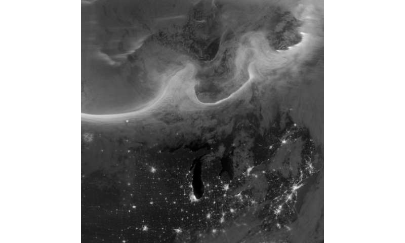 Suomi NPP satellite sees auroras over North America