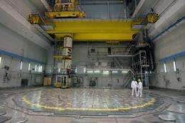 Technicians stand opposite a nuclear reactor head at the Ignalina nuclear power plant in Visaginas, Lithuania