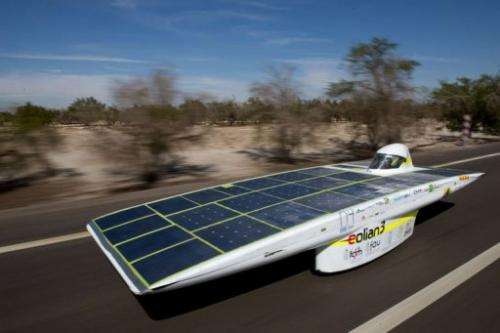 The Chilean team Eolian 3 competes during the first stage of the Atacama Solar Challenge