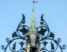 The clock of the Canadian Parliament in Ottawa