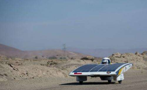 The driver of the Chilean team Das-Udec competes in the first stage of the Atacama Solar Challenge
