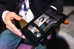 The Kindle Fire is displayed in New York City in 2011