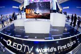 """The Samsung booth during the 52nd edition of the """"IFA"""" (Internationale Funkausstellung) trade fair"""