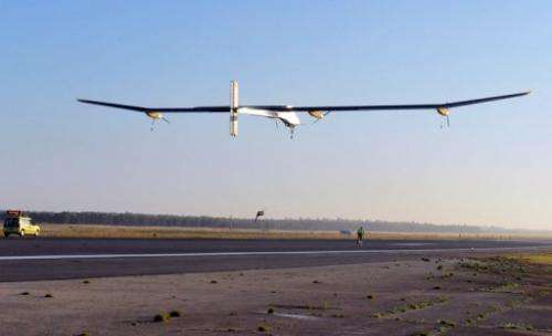 The Swiss-made, solar-powered aircraft Solar Impulse takes off from Rabat in June 2012