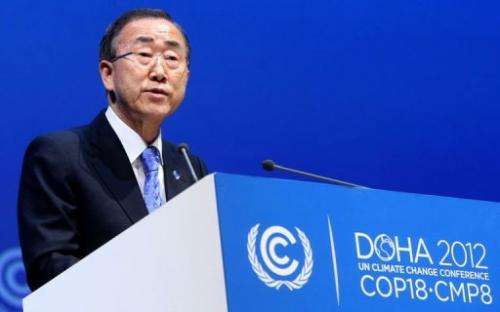 The UN chief has urged negotiators at climate talks in to put aside their quarrels and act with urgency