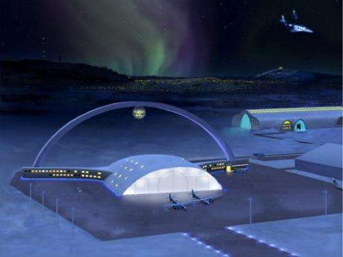 This handout picture shows an artist's impression of an international space airport in Kiruna, Sweden
