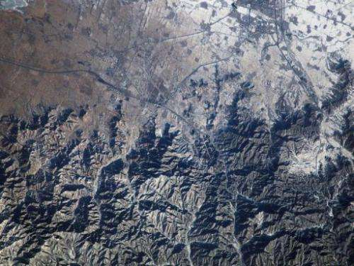 This NASA file image shows the Great Wall of China and Inner Mongolia, photographed from the ISS, on April 22, 2009