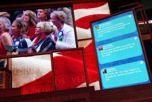 Tweets are shown on a display during the Republican National Convention in August 2012