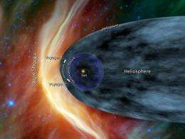 Voyager 1 and Voyager 2 are portrayed at the edge of the solar system in an artist's rendition