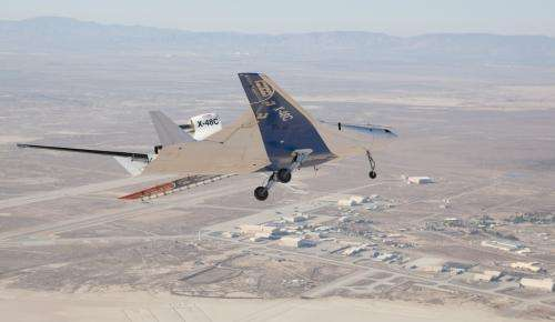 X-48 blended wing body research aircraft makes 100th test flight
