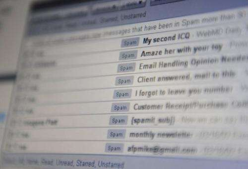 """A computer screen inbox displaying unsolicited emails known as """"spam"""" in Hong Kong on March 20, 2009"""