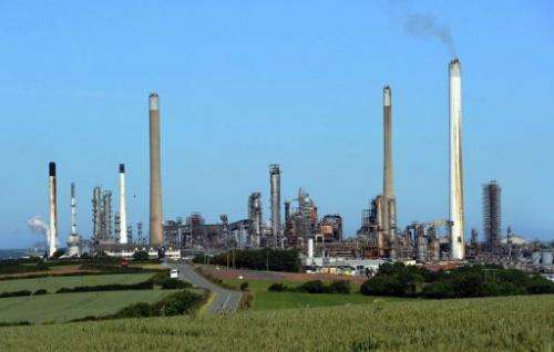 A general view of the Chevron Oil Refinery in west Wales is pictured on June 3, 2011