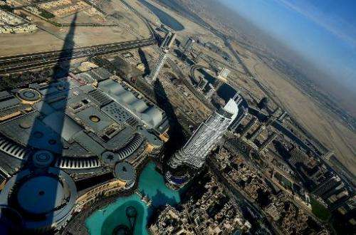 An image taken from Burj Khalifa, the world's tallest skyscraper, on May 21, 2013 shows construction in Dubai