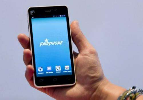A prototype of a Fairphone smartphone during its unveiling in London on September 18, 2013