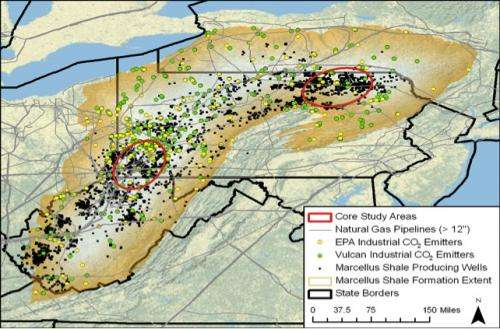 Carbon dioxide stored in Marcellus Shale wells could also