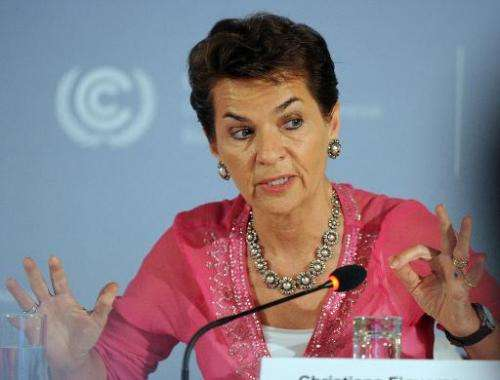 Christiana Figueres, Executive Secretary of the UN Framework Convention on Climate Change, at a press conference in Germany on M