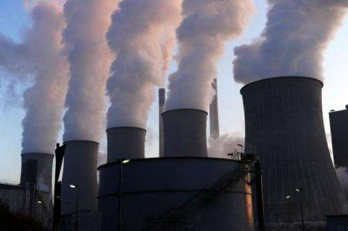 Cooling towers at the coal-fired Scholven power plant in Gelsenkirchen, Germany, on January 16, 2012