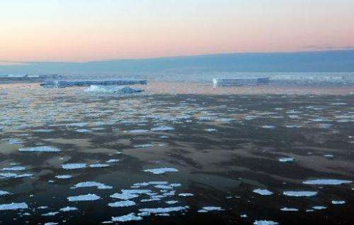 Giant tabular icebergs surrounded by ice floe drift in the Arctic on January 11, 2008